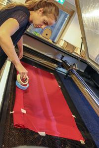 laser cutter fabric setup