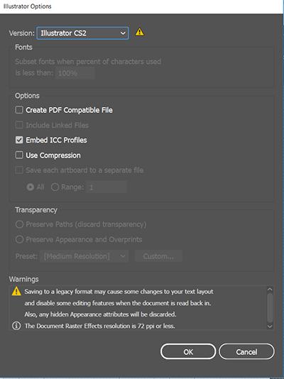 illustrator save settings