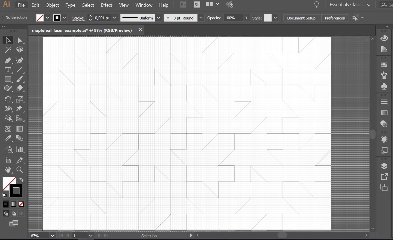 illustrator file prepared for laser cutting