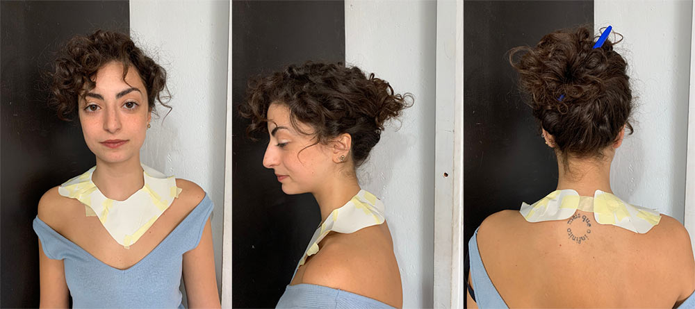 paper neck piece on Gabriela Lotaif