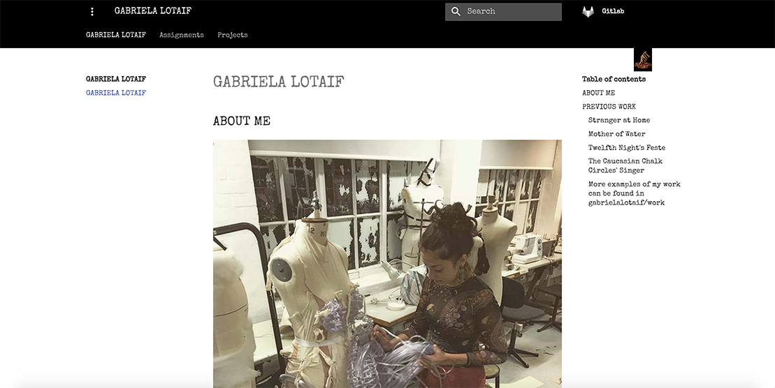 How Gabriela Lotaif's Fabricademy page looks at the end of week 1